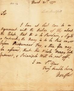 LORD MONTFORT LETTER 1771