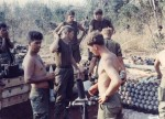 Mortar crew starting fire mission. Bu Gia Map, Vietnam 1969