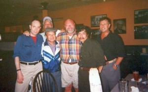 A couple of Nam vets walk into a bar: front row: Medic, Mr. Mao (NVA),  Marine Andy Lewindowski, Bao Ninh, retired SF Col. Allan Farrell. Back row, Larry Heinemann, author of Paco's Story.Boston 1999.. BOSTON 1999