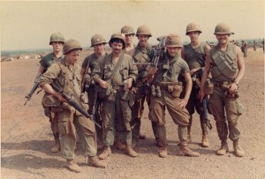 3rd Squad Mini Cav on Compton. Front-Shake n Bake, Gary Williams, John Roop,Jim Lamb, Steve Melhop. Back-Mike Derrig, Ray Williams, Knuckles, Joe Dorio. An Loc 1969