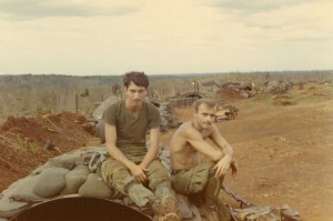 Medic and Lamb on culvert hooch. LZ Compton, An Loc 1969