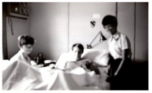 "Jeff and Airforce nurses Cathy and Mary Ann. ""I could only call them by their first names.They were very nice to me.They were pretty,and they smelled good."" Saigon, 1970. Fuzzy photo: Helen Musgrove."