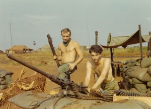 Lamb with grenade launcher, Medic on fifty caliber machine gun. LZ Compton, An Loc 1969