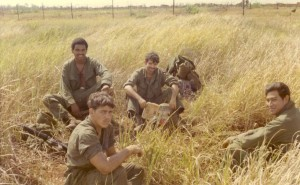Knuckles, Glenn Williams, Gary Williams, Rudy Estrada waiting for choppers near LZ Granite. Song Be, Vietnam 1970
