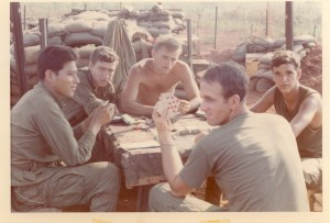 Playing Hearts on Compton. Left to right: Rudy,Ray,Jim,Dorio,Roop. An Loc,Vietnam 1969