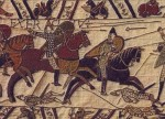 The Bayeux Tapestry,circa 1070 CE. An embroidered cloth—not an actual tapestry—nearly 70 metres long,depicts the events leading up to the Norman conquest of England.