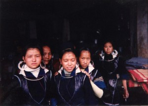 H'mong girls in central market stall. Sapa, 1995.