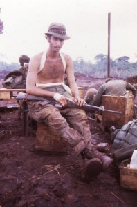 Medic on LZ Ramada after forty-six days in Cambodia. Vietnam, 1970