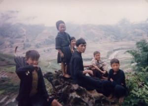 Father with children. Sapa, North Vietnam 1995