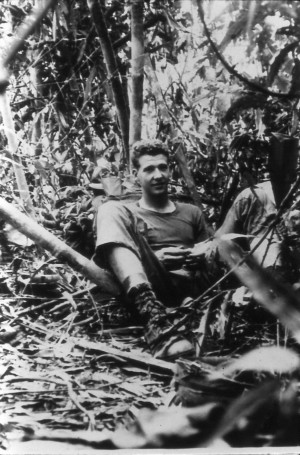Jean Locklear resting in the bush. Song Be,Vietnam 1970