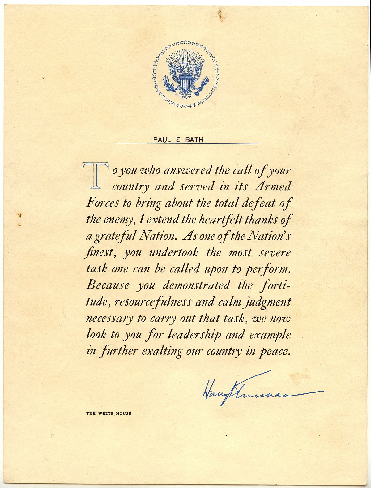 This certificate of appreciate is signed (not a real signature) by President Harry Truman.