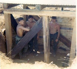 Building a bunker on LZ Compton  Steve Chump, Clopton, Larry Johnson. An Loc, Vietnam 1969