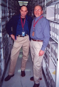 Medic and Paul in NARA stacks. Maryland 2000