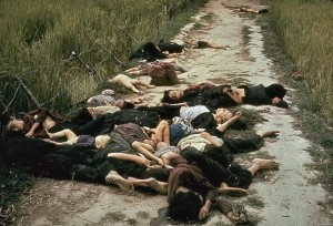 My Lai, March 16 1968. Ronald L. Haeberle/Life Magazine, via Associated Press. The My Lai Massacre (pronounced Me Lye)  was the Vietnam War mass murder of between 347 and 504 unarmed civilians in South Vietnam on March 16, 1968. It was committed by troops of Charlie Company 1st/20th 11th Light Infantry Brigade. Victims included women, men, children, and infants. Some of the women were gang-raped and their bodies mutilated. Twenty six soldiers were charged with criminal offenses, but only 2nd Lieutenant William Calley Jr., a platoon leader, was convicted. Found guilty of killing 22 villagers, he was sentenced to life in prison, but served only three and a half years under house arrest. In November 1969 Seymore Hersh exposed the incident, which prompted global outrage.
