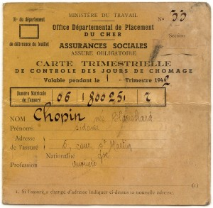 Vichy era unemployment card-identifying information.