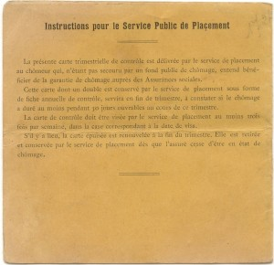 Instructions-Vichy era unemployment card.