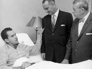 Presidential candidate Richard Nixon is visited at Walter Reed by vice presidential candidate Sen. Lyndon Johnson, and Sen. Everett Dirksen. In 1960 Nixon spent two weeks at Walter Reed recovering from a bacterial staph infection.