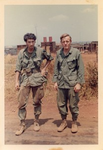 In from patrol: Medic (wearing .45) and Bruce Kepley on LZ Compton. An Loc 1969