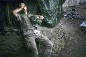 Tim Hetherington, a Vanity Fair photographer based in Britain, won the World Press Photo of the Year 2007 award with this picture of an American soldier resting at a bunker in Korengal Valley, Afghanistan.