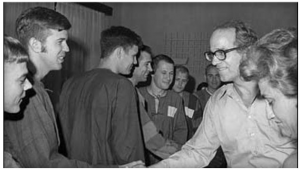 Rev. William Sloane Coffin, right, shakes hands with Lt. Greg Hanson of Thousand Oaks, Calif., as he greets captured American pilots in Hanoi, Vietnam in this Sept. 25, 1972 file photo. Coffin, a former Yale University chaplain known for his peace activism during the Vietnam War and his continuing work for social justice, died Wednesday April 12, 2006 at his home in rural Strafford. He was 81. (AP Photo/Peter Arnett)