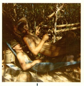 Gary Kelsch and Jeff Motyka in the bush. 1970