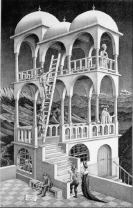 ESCHER DRAWING: BELVEDERE